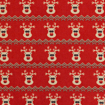 Katoen - Kerst rendiertje op rood