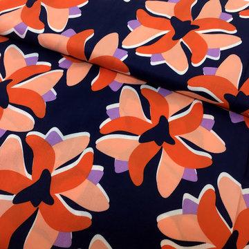 Viscose - Coupon 100 cm Grote bloem lilybalou