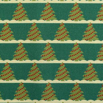 Katoen - Kleine kerstboom op groen