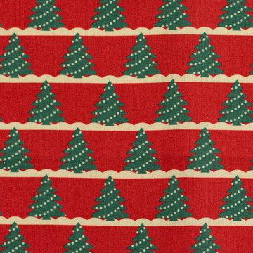 Katoen - Kleine kerstboom op rood
