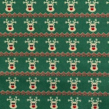 Katoen - Kerst rendiertje op groen