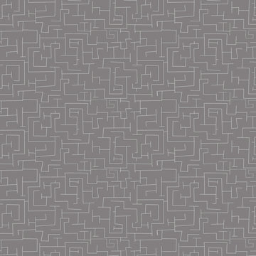 Katoen - Fijn doolhof op grijs