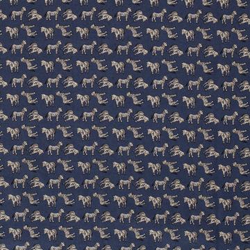 Katoen - Fijne zebra op donkerblauw