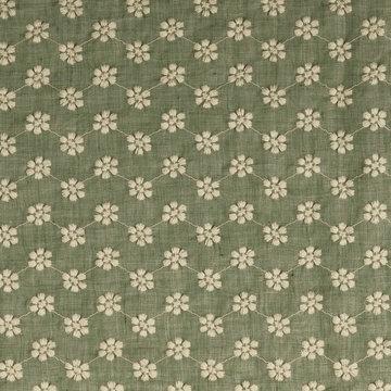 Katoen - Groen met geborduurd ecru bloemmmotief