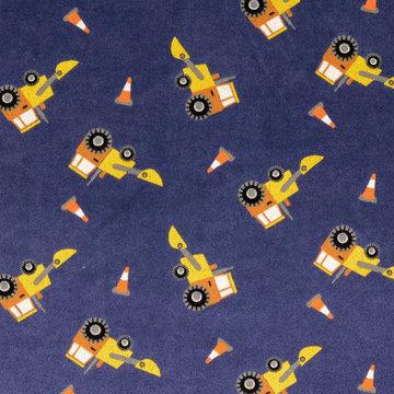 Nicky velours - Marineblauw met oker en gele tractorprint