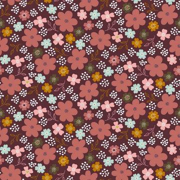 Jersey gots - Roze bloementuin op paars