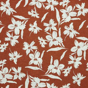 Linnen viscose - Grote witte bloemen op roest