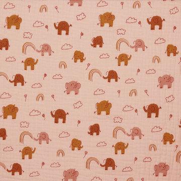 Tetradoek gots - Olifantjes tussen de wolken op roze