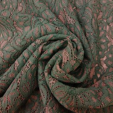 Kant - Bloemen oudroze en groen