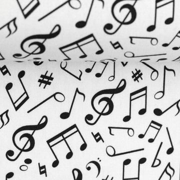 Katoen - Zwarte muzieknoten op wit