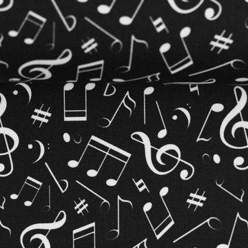 Katoen - Witte muzieknoten op zwart