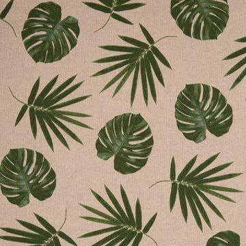 Coupon / Canvas - Beige linnenlook met gatenplant- en varenbladmotief