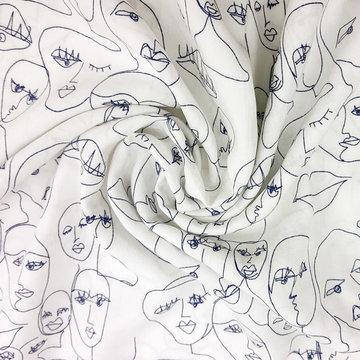 Viscose - Blauwe getekende gezichten op wit