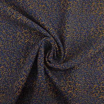 Viscose - Okeren strookjes op blauw
