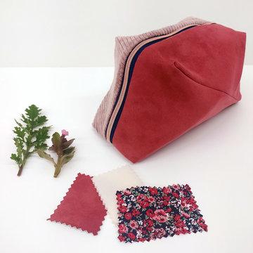 Stoffenpakket - Geo bag groot roze velour