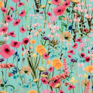 Katoen - Zomers bloemenveld op turkoois