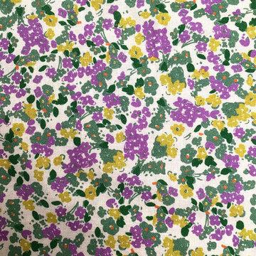 Linnen - Paarsgroene bloempjes