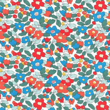 Katoen - Liberty bloemen rood blauw