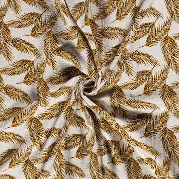 Tetradoek - Panter palmblad op ecru