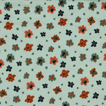 Tetradoek - Roeste bloemen op pastelgroen