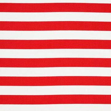 Katoen - Brede strepen rood -wit