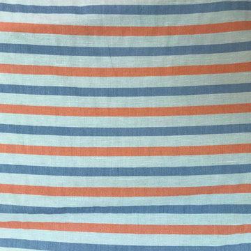 Katoen - Oranje & blauw streep met linnen
