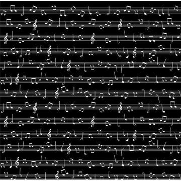 Katoen - Muzieklijnen op zwart