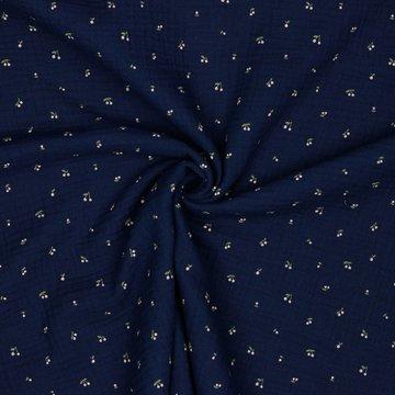Tetradoek gots - Mini bloempje op marineblauw