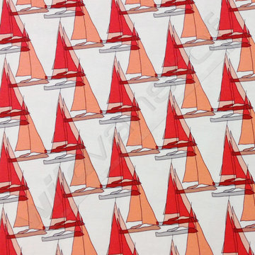 Coupon 60 /Tricot viscose - Zeilboten rood