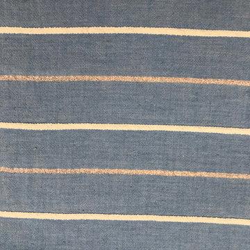 Katoen - Blauw met lijnen en lurex