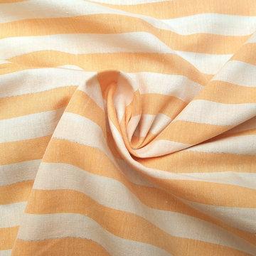 Katoen - Fibremood strepen warm geel-wit met zilver detail