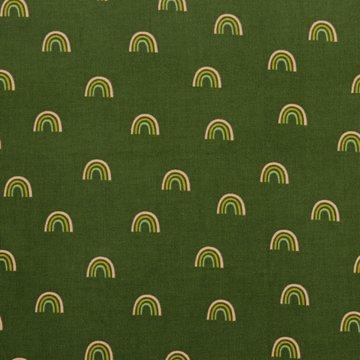 Ribfluweel - Regenboog op legergroen