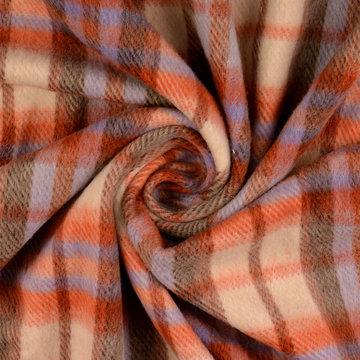 Mantelstof - Carreaux rood-paars-beige