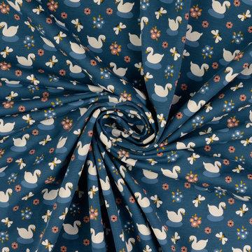 Tricot - Tulpjes op petrolblauw