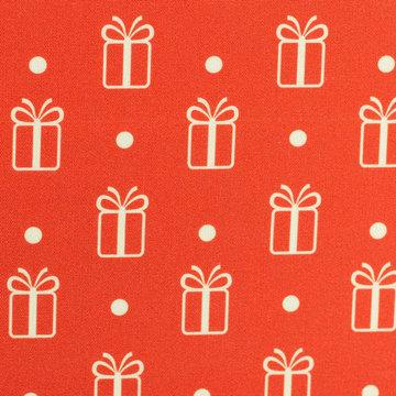 Katoen - kerstgeschenk met dot op rood