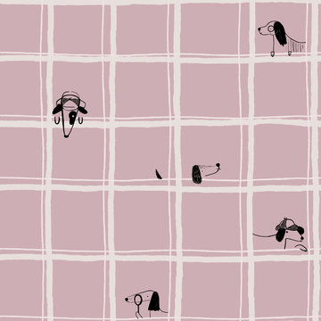 Katoen - Verstopte hond in roze raster