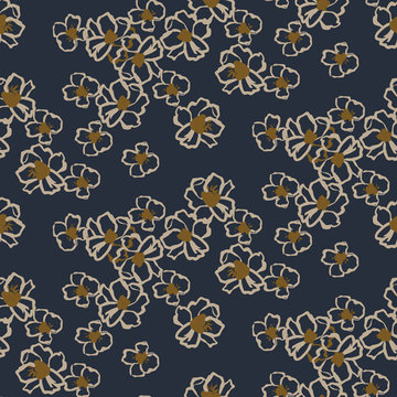Viscose stretch - Blauw getekende bloem
