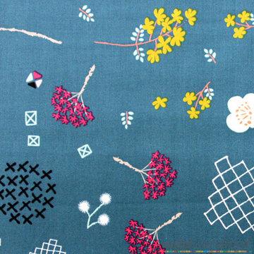 Katoen - Variatie bloemen blauw