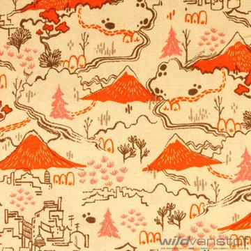 Katoen - Berglandschap oranje