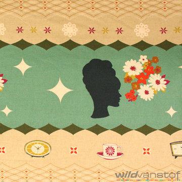 Katoen - Groot retro bloemenpatroon