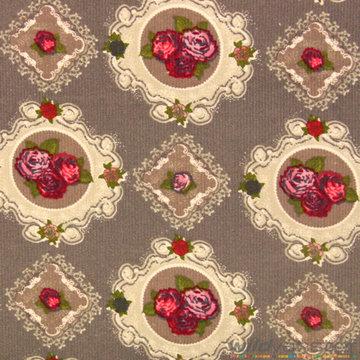 Ribfluweel rozenpatroon op grijs