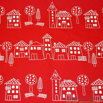Canvas - Witte huizen op rood