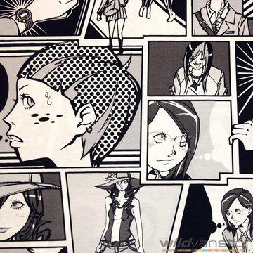 Canvas 280cm - Grote cartoons zwart-wit