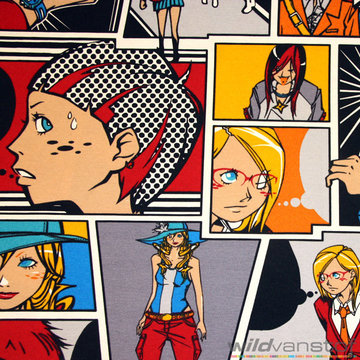Canvas 280cm - Grote kleurrijke cartoons