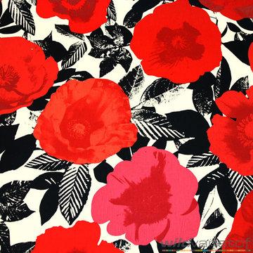 Canvas - Grote klaprozen rood en roze