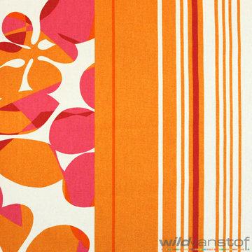 Canvas - Grote roze oranje bloemen en strepen