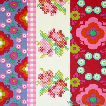 Canvas - Patchwork bloemen paars en rood