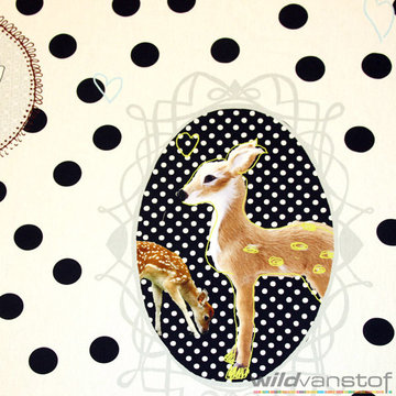 Canvas - Hert op polka dot zwart-wit