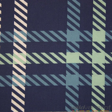 Lakenstof 255cm - Vierkant en streepjes blauwe tinten