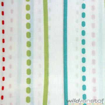 Lakenstof 250cm - Gekleurde strepen op wit